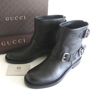new GUCCI buckled straps biker ankle boots 40 / 10